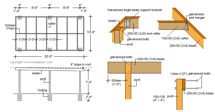attached flat roof carport plans